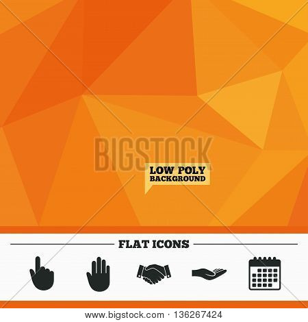 Triangular low poly orange background. Hand icons. Handshake successful business symbol. Click here press sign. Human helping donation hand. Calendar flat icon. Vector