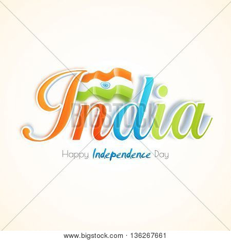 Glossy Tricolor Text India with Waving Indian Flag, Creative typographical background for Happy Independence Day celebration.