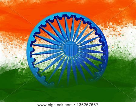 Glossy 3D Ashoka Wheel on Creative Indian Flag colour abstract background, Concept for Happy  Independence Day and Republic Day celebration.