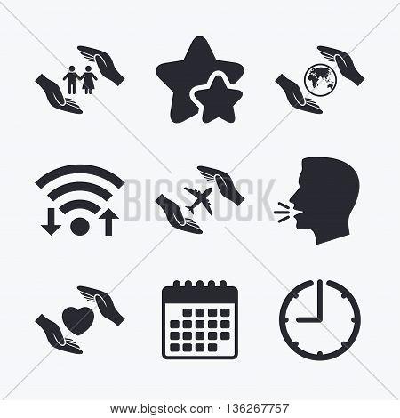 Hands insurance icons. Human life insurance symbols. Heart health sign. Travel flight symbol. Save world planet. Wifi internet, favorite stars, calendar and clock. Talking head. Vector