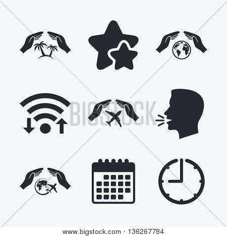 Hands insurance icons. Palm trees symbol. Travel trip flight insurance symbol. World globe sign. Wifi internet, favorite stars, calendar and clock. Talking head. Vector