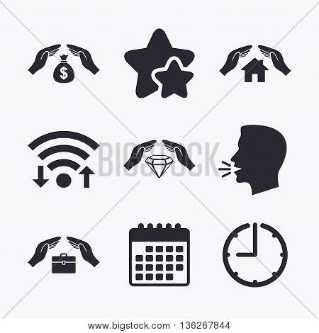 Hands insurance icons. Money bag savings insurance symbols. Jewelry diamond symbol. House property insurance sign. Wifi internet, favorite stars, calendar and clock. Talking head. Vector