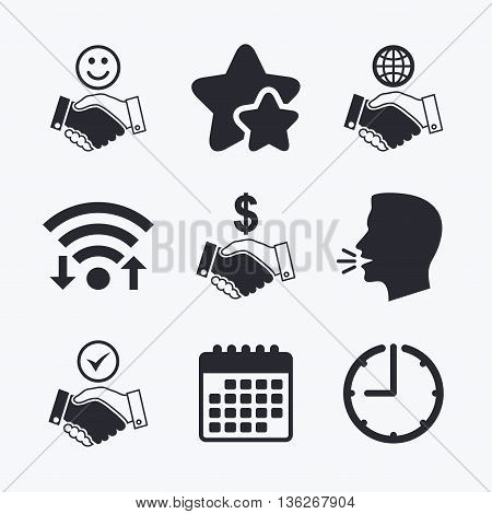 Handshake icons. World, Smile happy face and house building symbol. Dollar cash money. Amicable agreement. Wifi internet, favorite stars, calendar and clock. Talking head. Vector