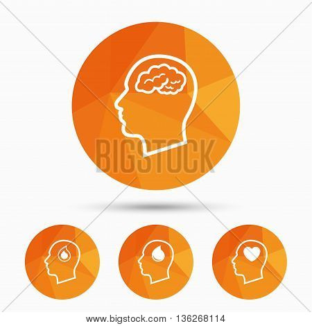 Head with brain icon. Male human think symbols. Blood drop donation sign. Love heart. Triangular low poly buttons with shadow. Vector