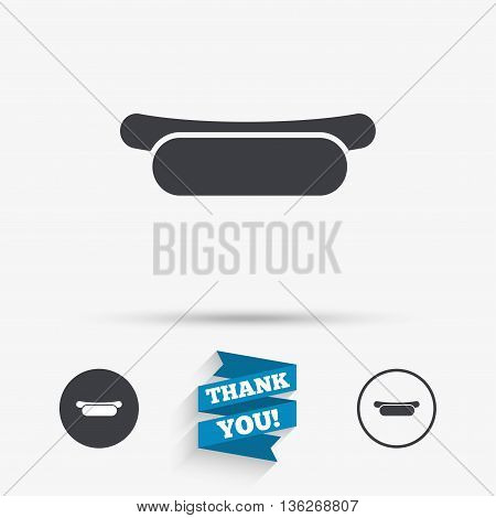 Hotdog sandwich icon. Sausage symbol. Fast food sign. Flat icons. Buttons with icons. Thank you ribbon. Vector