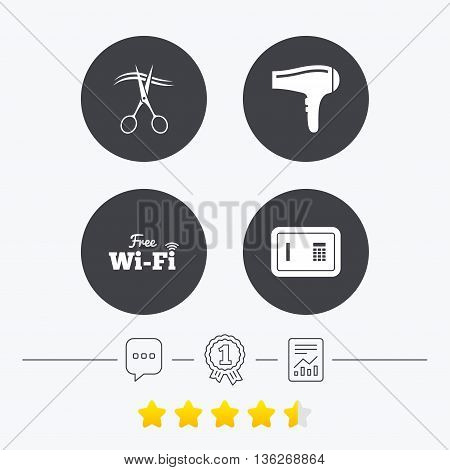 Hotel services icons. Wi-fi, Hairdryer and deposit lock in room signs. Wireless Network. Hairdresser or barbershop symbol. Chat, award medal and report linear icons. Star vote ranking. Vector