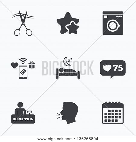 Hotel services icons. Washing machine or laundry sign. Hairdresser or barbershop symbol. Reception registration table. Quiet sleep. Flat talking head, calendar icons. Stars, like counter icons. Vector