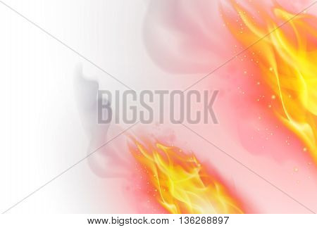Realistic Fire Flames Effect on White Background