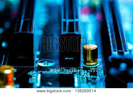 The concept of microelectronics. Detail of printed circuit board
