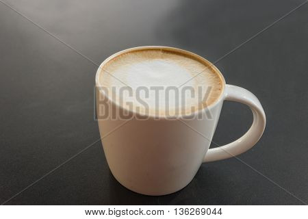 hot fresh coffee in white cup on black table close up cappuccino coffee mocha coffee espresso coffee latte coffee