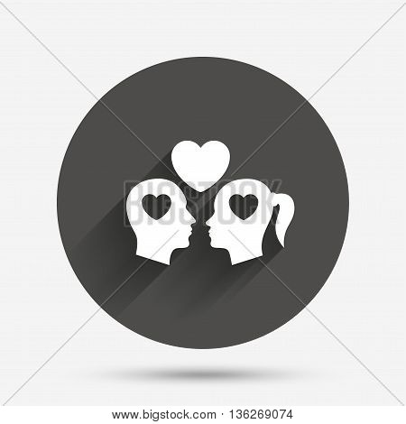 Couple sign icon. Male love female. Lovers with heart. Circle flat button with shadow. Vector