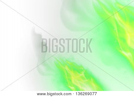 Realistic Green Fire Flames Effect on White Background
