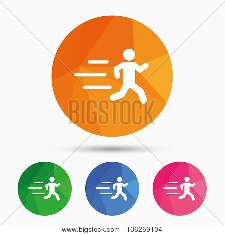 Running sign icon. Human sport symbol. Triangular low poly button with flat icon. Vector