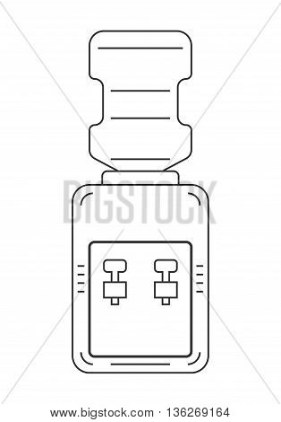 Water cooler. Flat, linear, black and white icon equipment for drinking. Clean water. Vector illustration