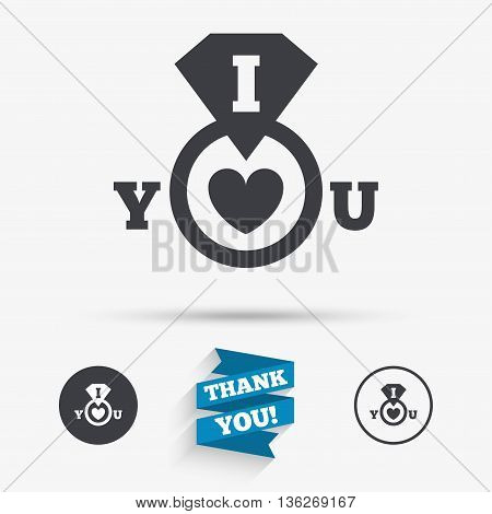 I Love you sign icon. Valentines day symbol. Flat icons. Buttons with icons. Thank you ribbon. Vector