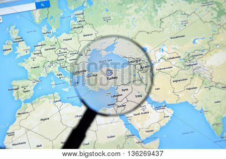 MONTREAL CANADA - JUNE 24 2016 - Turkey on Google Maps app under magnifying glass. Turkey officially the Republic of Turkey is a parliamentary republic in Eurasia.