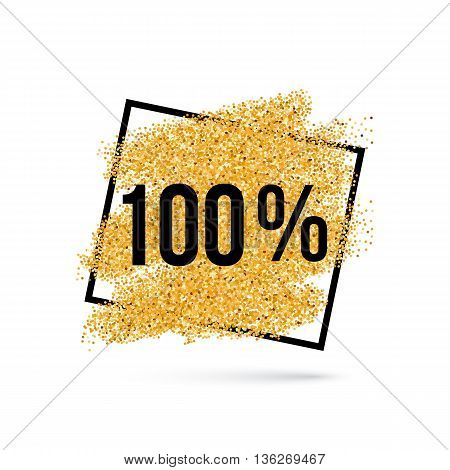 Gold Discount Background for Sale Sign with One Hundred Percent