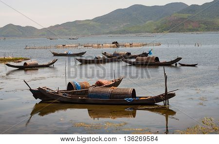 Boat mooring, the Tam Giang, Hue, Vietnam