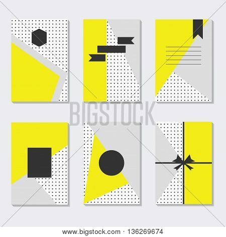 Assorted yellow gray and white dotted backgrounds cards templates set with empty black labels