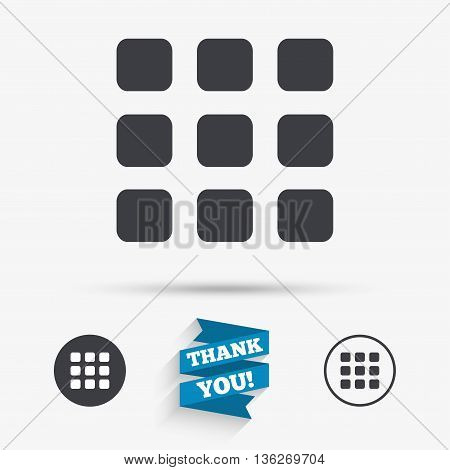 Thumbnails grid sign icon. Gallery view option symbol. Flat icons. Buttons with icons. Thank you ribbon. Vector