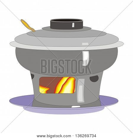 Illustration hot pot cooking asian dish on fire isolated on white background