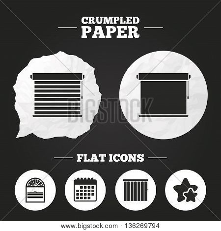 Crumpled paper speech bubble. Louvers icons. Plisse, rolls, vertical and horizontal. Window blinds or jalousie symbols. Paper button. Vector