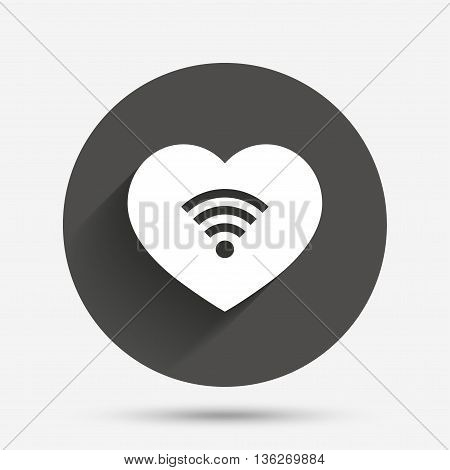 Love Wifi sign. Wi-fi symbol. Wireless Network icon. Wifi zone. Circle flat button with shadow. Vector