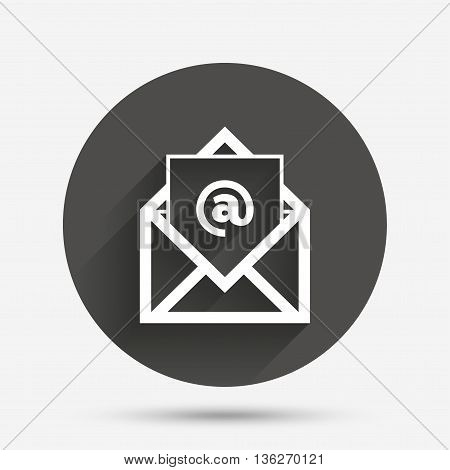 Mail icon. Envelope symbol. Message at sign. Mail navigation button. Circle flat button with shadow. Vector