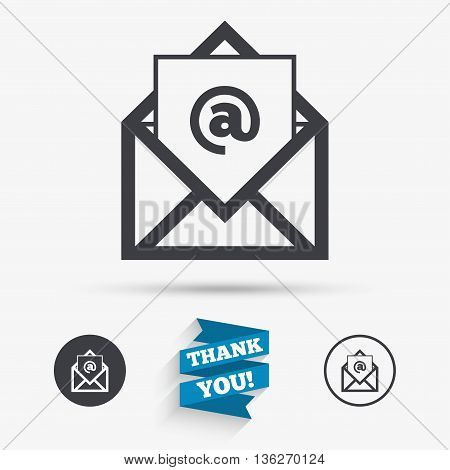 Mail icon. Envelope symbol. Message at sign. Mail navigation button. Flat icons. Buttons with icons. Thank you ribbon. Vector