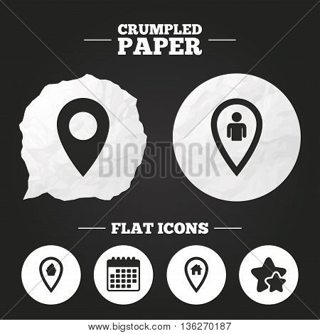Crumpled paper speech bubble. Map pointer icons. Home, food and user location symbols. Restaurant and cupcake signs. You are here. Paper button. Vector