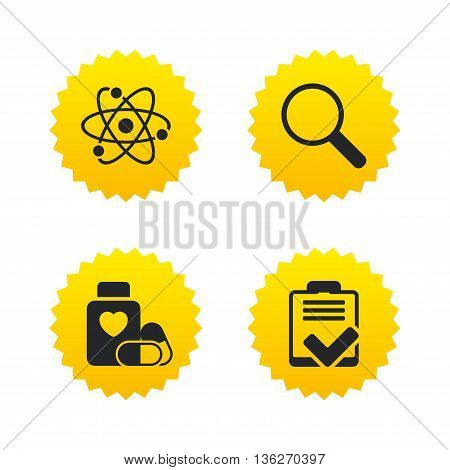 Medical icons. Atom, magnifier glass, checklist signs. Medical heart pills bottle symbol. Pharmacy medicine drugs. Yellow stars labels with flat icons. Vector