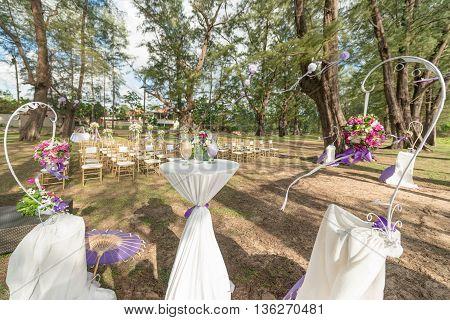 wedding decorations and arrangement flowers wedding sand ceremony. selective focus.