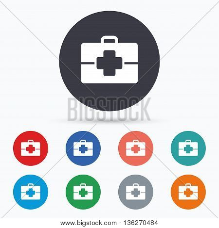 Medical case sign icon. Doctor symbol. Flat medical case icon. Simple design medical case symbol. Medical case graphic element. Circle buttons with medical case icon. Vector
