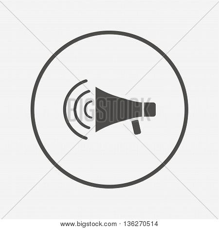 Megaphone sign icon. Loudspeaker strike symbol. Flat megaphone icon. Simple design megaphone symbol. Megaphone graphic element. Round button with flat megaphone icon. Vector