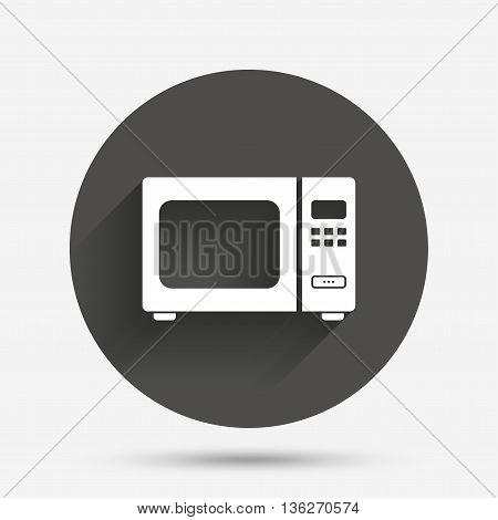 Microwave oven sign icon. Kitchen electric stove symbol. Circle flat button with shadow. Vector