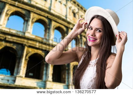 Young brunette girl in Rome, Italy