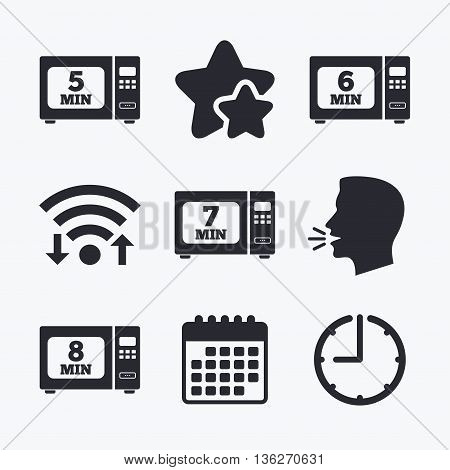 Microwave oven icons. Cook in electric stove symbols. Heat 5, 6, 7 and 8 minutes signs. Wifi internet, favorite stars, calendar and clock. Talking head. Vector