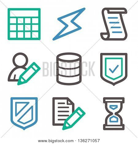 Database web icons, server and storage, script and users, table and firewall