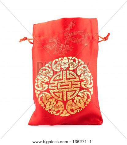 Open Red Fabric Bag Or Ang Pow With Chinese Style Pattern On White Background.