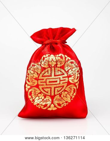 Red Fabric Bag Or Ang Pow With Chinese Style Pattern On White Background