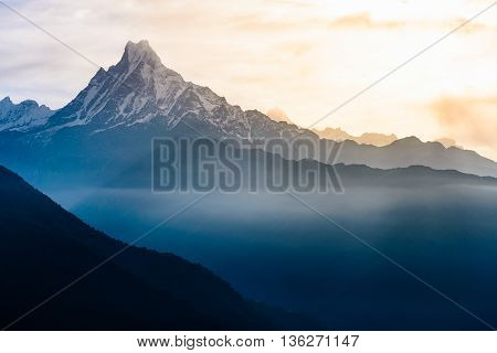 View of the himalayan peak the 6993 ms. mount Machhapuchhare-Fish Tail Nepal.