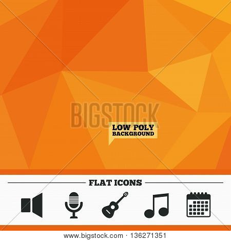 Triangular low poly orange background. Musical elements icons. Microphone and Sound speaker symbols. Music note and acoustic guitar signs. Calendar flat icon. Vector