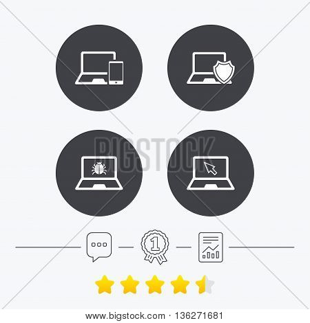 Notebook laptop pc icons. Virus or software bug signs. Shield protection symbol. Mouse cursor pointer. Chat, award medal and report linear icons. Star vote ranking. Vector