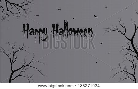 Flat backgrounds halloween dry tree vector illustration