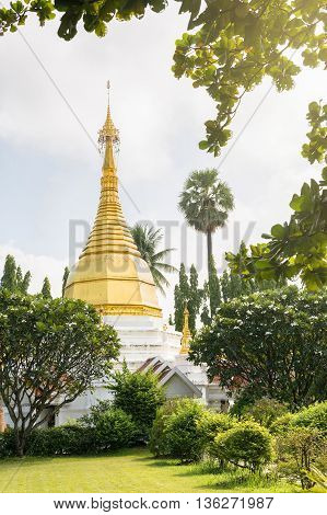 Golden stupa or golden pagada made of cement and zinc in public temple.