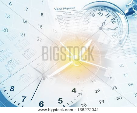 Clocks, calendar pages and year planner