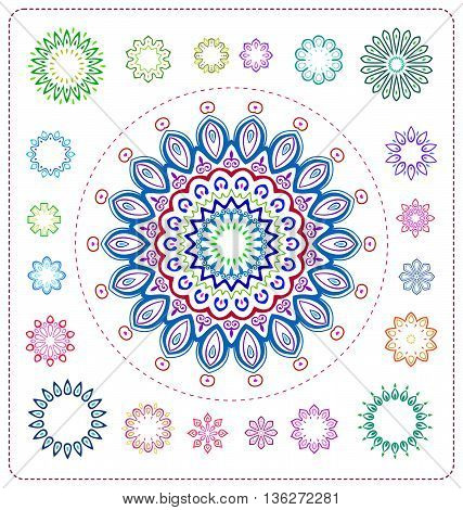 Set Of Colorful Mandala Illustration
