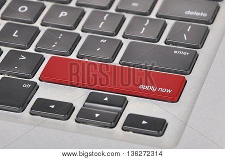 Keyboard  Button Written Word Apply Now!