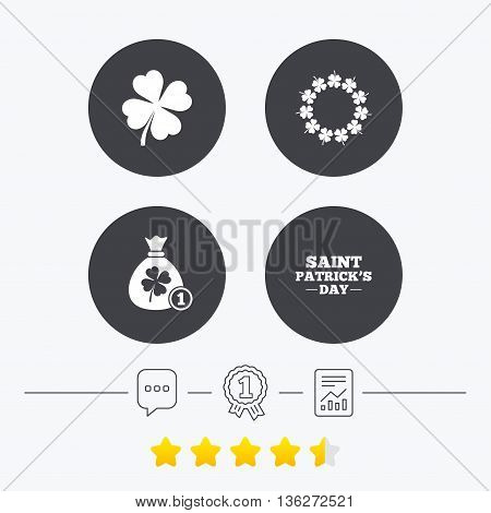 Saint Patrick day icons. Money bag with coin and clover sign. Wreath of quatrefoil clovers. Symbol of good luck. Chat, award medal and report linear icons. Star vote ranking. Vector