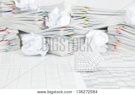Bankruptcy House Have Blur Paper Ball On Paperwork As Background